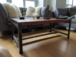 Industrial Acacia coffee table for sale