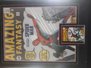AMAZING  FANTASY SPIDER MAN POSTER WITH SIGNED COMIC BOOK COVER