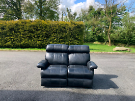 2 seater sofa in black leather Hyde throughout £125 all reclining
