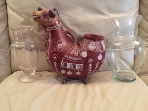 ** PRICE REDUCED ** 2 VASES AND 1 DECORATIVE CONTAINER