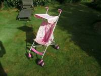BabyStart Pink Canopy Pushchair / Stroller + FREE Chicco Travel Bag
