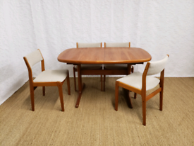 60s mid century teak Danish Skovby dining table and chairs