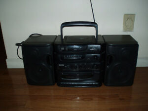 Sanyo MCD-S830 Stereo Boombox - AM/FM, CD Player & Dual Cassette