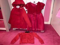 Girls red ladybird bundle. Dress coat cardigan