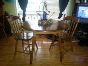 DROP LEAF MAPLE TABLE WITH TWO CHAIRS-FREE DELIVERY
