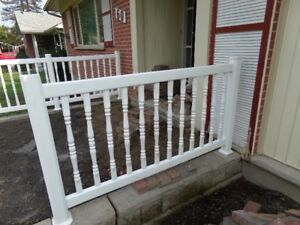 5 OUTDOOR WHITE POLY SPINDLE , POST , RAIL ,  5' FENCE SECTIONS