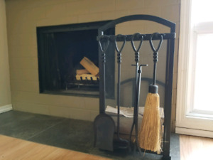 Firewood Rack and Fireplace Tools