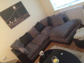 Byron black and grey corner sofa brand new