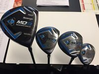 SLAZENGER MD9 DRIVER, 3 WOOD, 5 WOOD, HYBRID. GOOD CONDITION & COVERS