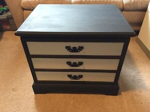 Beautifully Refurbished Black & White Side Table or Night Stand