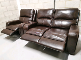 Costco Zach 2 Seater Power Recliner Brown Leather Sofa & Armchair