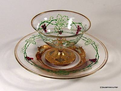 Antique Moser Bohemian Gold Encrusted with Applied Glass Grapes Dessert Set