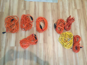 8 extension cords (7 outdoor, 1 indoor)