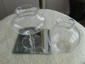 ...TWO CLEAR GLASS RUFFLE-TOPPED FANCY LITTLE ROSE BOWLS...