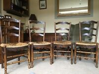 4 French Provençal late 19C beech frame ladderback chairs with rush seats