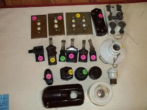 collection of vintage electrical switches,plugs ect.