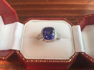 14K WHITE GOLD 5CT TANZANITE & DIAMOND RING APPR. $10,520
