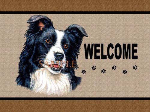 Border Collie Dog Breed Profile Portrait Welcome Home Doormat Door Mat Floor Rug
