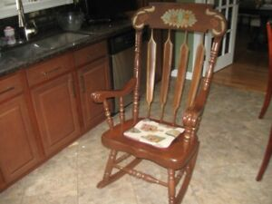 VERY SOLID HEAVY WOODEN ROCKING CHAIR