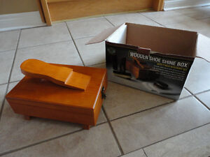 Brand new in box wooden show shine box polish cleaning kit