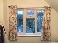 Satin floral curtains