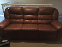 Elran leather reclining couch and chair