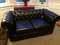 Black Chesterfield sofa 2 seater