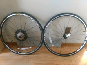 Brand new Mavic Aksium Wheelset with Tires and Cassette