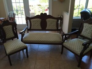 Beautiful antique loves seat and chairs, refinished.