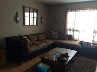 Just like new suede and leather sectional