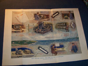 HOW WIRELESS WORKS-MARCONIGRAM-1922 COLOR PLATE-VINTAGE