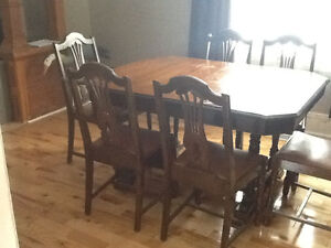 Antique Dining Table, China Cabinet, and Buffet