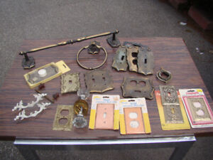 Vintage lot of Copper & Brass switch plates etc