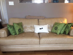 Tan Leather Couch Set
