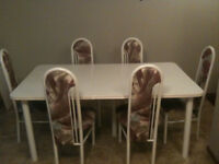 White Dining Set With 6 chairs and 2 leafs! $350.00 OBO