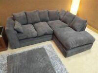 BRAND NEW CORNER SOFA SETTEE COUCH BLACK BROWN GREY CORD FABRIC OR CRUSHED VELVET FREE DELIVERY