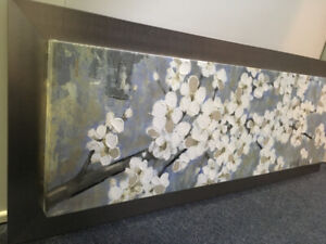 Canvas with white flowers. Metal frame. Wall art, wall decor