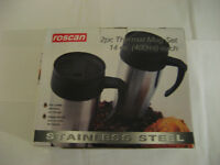 2 Brand New Stainless Steel Thermal Mugs (14oz) 2 tasses thermos
