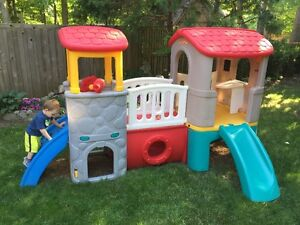 Step2 Clubhouse Climber Outdoor Playhouse Slide Bridge Set
