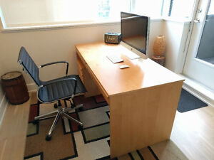 Large Beech Wood Veneer Desk & Filing Unit