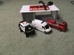 Fire station parking with 3 vehicles