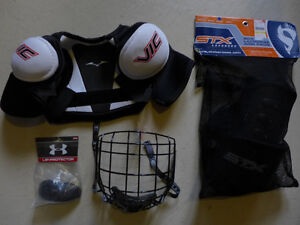 Brand New Youth Hockey Shoulder Pads, Helmut Cage
