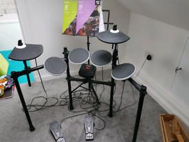 Drum kit ion electronic, stool, headphone and sticks