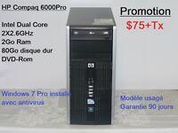 Promotion: Ordis usagés, Windows 7 installé (et licence) 75$ et+