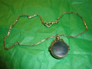 Vintage bloodstone pocket watch fob and chain