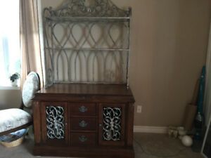 Hutch with glass shelves