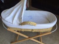 Moses basket with wooden stand, mattress and sheets