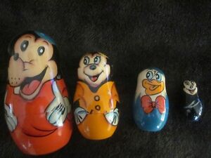 VINTAGE-Disney Russian Nesting Doll Style-Set of Four-RARE