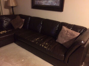 Brown Leather Sectional w/ Single Chair Windsor Region Ontario image 2