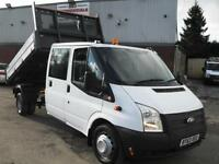 63 REG FORD TRANSIT CREW D/CAB DROPSIDE TIPPER, 125PS, 63,000 MILES, BEST IN UK!